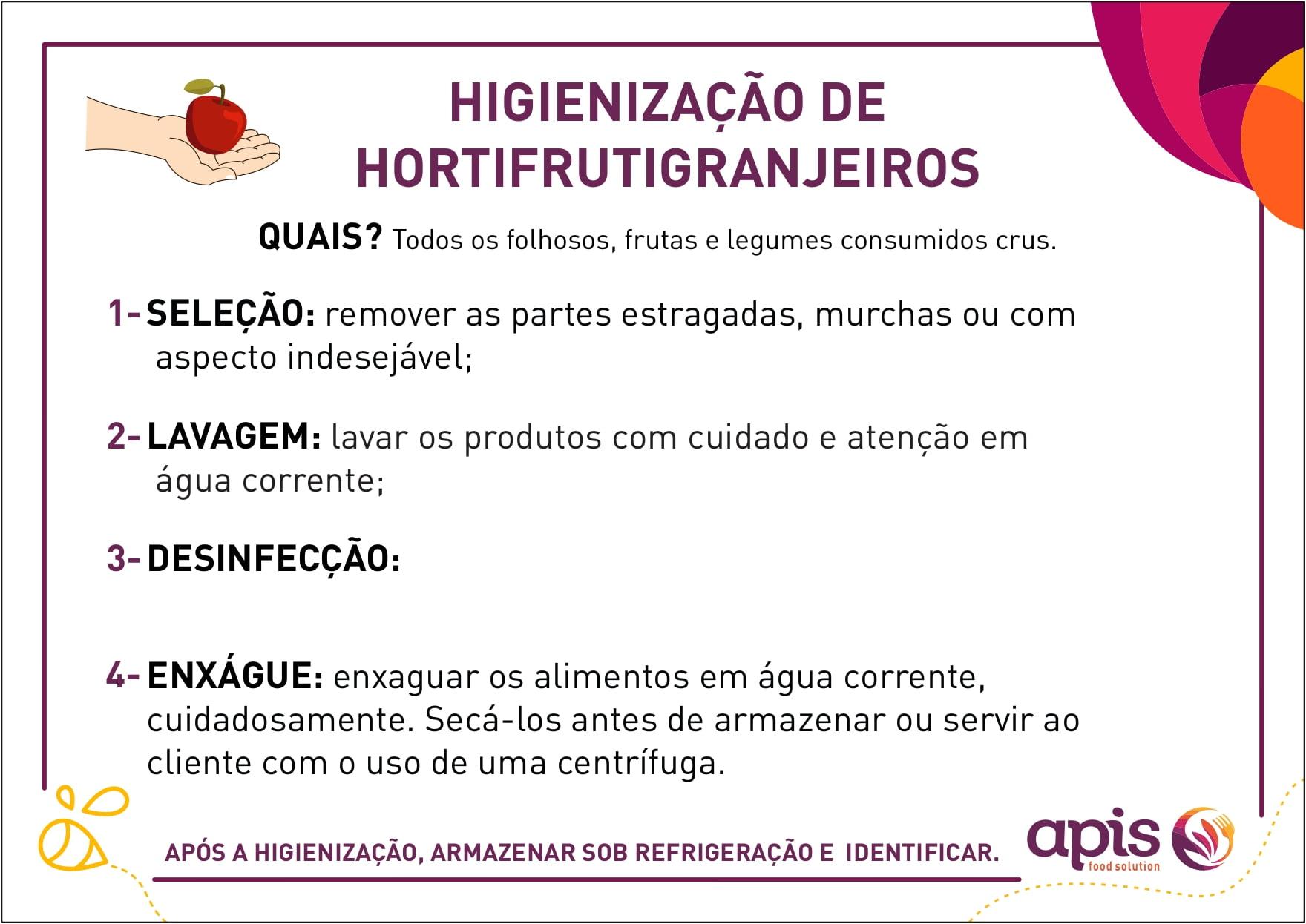 Higiênização de Hortifrutigranjeiros